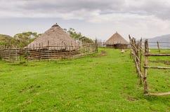 Chaume traditionnelle, argile et maisons en bois d'éleveur de moutons en montagnes du Cameroun, Afrique Photos stock
