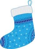 Chaussette bleue de Noël Photographie stock
