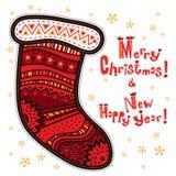 Chaussette décorative, Joyeux Noël, bonne année Photo stock