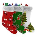Chaussettes de Noël avec des cadeaux d'isolement Images stock