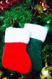 Chaussettes de Noël sur l'arbre Images libres de droits