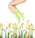 Chaussettes et fleurs Photos stock