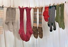 Chaussettes fabriquées à la main de laines Photos libres de droits