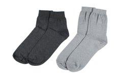Chaussettes faites en coton d'isolement sur le fond blanc Photographie stock libre de droits