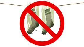 Chaussettes puantes dans le signe interdit, illustration 3d Image stock