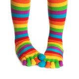 Chaussettes rayées colorées Photo stock