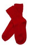 Chaussettes rouges d'enfant en bas âge Image stock