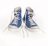 Chaussure bleue et lacets de toile classique Image stock