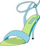 Chaussure bleue et verte Images libres de droits