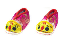 Chaussure de bébé de tigre Photos libres de droits