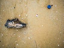 Chaussure de déchets sur la plage photo libre de droits