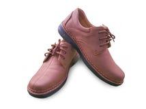 Chaussure en cuir d'isolement d'homme brun Image libre de droits