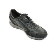 Chaussure en cuir noire occasionnelle d'isolement Photo libre de droits