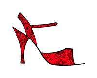 Chaussure fleurie esquissée de tango avec remplir vue de côté illustration libre de droits