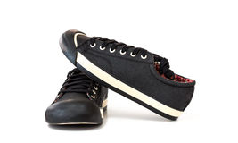 Chaussure noire d'espadrille Photo libre de droits