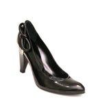 Chaussure noire de femmes de haut talon avec la proue Photos stock