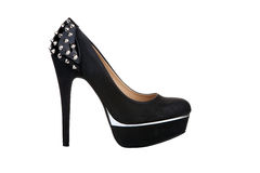 Chaussure noire de plate-forme avec des rivets Image libre de droits