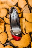 Chaussure noire de talon avec rouge et blanc avec le fond en bois image libre de droits