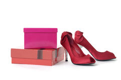 Chaussure rouge de talon haut Photo stock