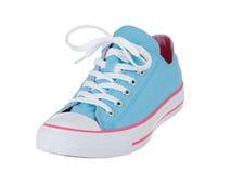 Chaussure simple bleue de vintage sur le blanc Photo libre de droits