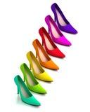 Chaussures à la mode colorées de talon haut Photos libres de droits