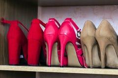 Chaussures à la mode de femmes de talon haut sur une étagère Images stock