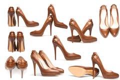 Chaussures élégantes de talon haut sur le blanc Images libres de droits
