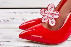 Chaussures élégantes et carte femelles Photographie stock
