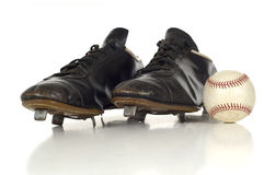 Chaussures antiques de base-ball de cru Photos stock