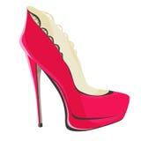 Chaussures avec des talons hauts et couleur cramoisie de plate-forme avec la dentelle noire Photographie stock libre de droits