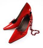 Chaussures avec le coeur de Valentine Photos stock