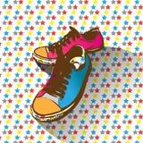 Chaussures avec le style de rétro et de bruit art Photo libre de droits