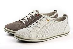 Chaussures blanches et brunes de sports Image stock