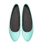 Chaussures bleues d'été d'isolement sur le fond blanc Photos stock