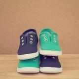 Chaussures bleues et vertes Photographie stock libre de droits