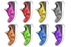 Chaussures colorées d'espadrille de fonctionnement et de mode Images stock