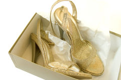 Chaussures d'or Photo stock