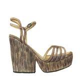 Chaussures d'aquarelle avec la plate-forme Illustration tirée par la main de mode sur le fond blanc Images stock
