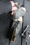 Chaussures d'espadrille de label et de vintage de voyage Photographie stock