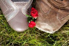 Chaussures dans l'amour Images libres de droits