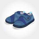 Chaussures de bébé bleu réalistes pour un garçon illustration stock