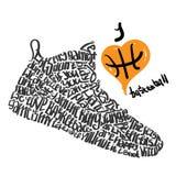 Chaussures de basket-ball marquant avec des lettres le basket-ball d'amour d'I Photos libres de droits