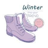 Chaussures de bottes pour l'hiver Rétro style d'affiche Insecte de conception avec les illustrations tirées par la main de vintag Photographie stock