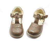 Chaussures de Brown de petites filles Photos libres de droits