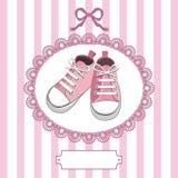 Chaussures de chéri et trame roses de lacet Photographie stock