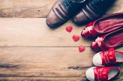 Chaussures de coeur pour la famille Pour l'amour d'une famille Photographie stock