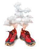 Chaussures de course de sport d'un rouge ardent Photographie stock libre de droits