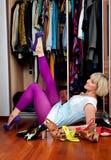 Chaussures de essai de femme photos stock