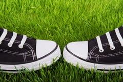 Chaussures de gymnase de la jeunesse sur une herbe verte Image stock