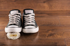 Chaussures de gymnase multicolores de la jeunesse sur le plancher images stock